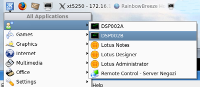 Kde menu with tn5250 shortcut
