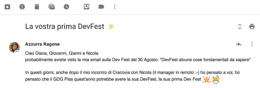 The email that made DevFest Pisa possible